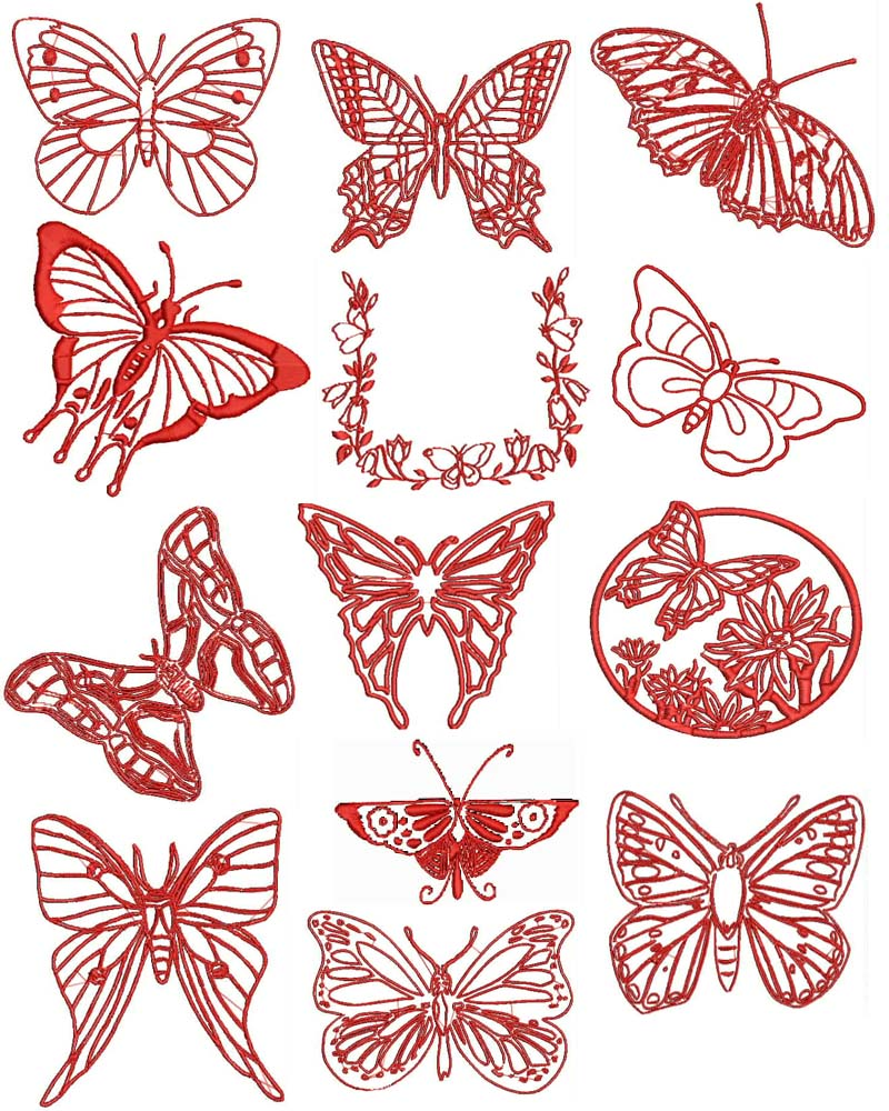 Redwork butterfly machine embroidery designs free font