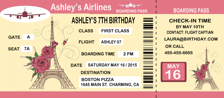 Birthday invitations the sewing network boarding pass themes filmwisefo