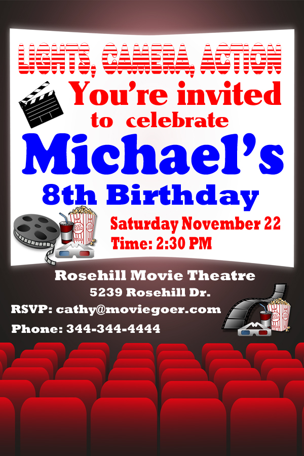 Personalized Movie Birthday Invitation Design 1