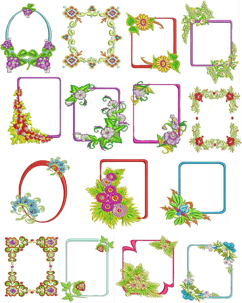 Floral flower frames machine embroidery designs free font