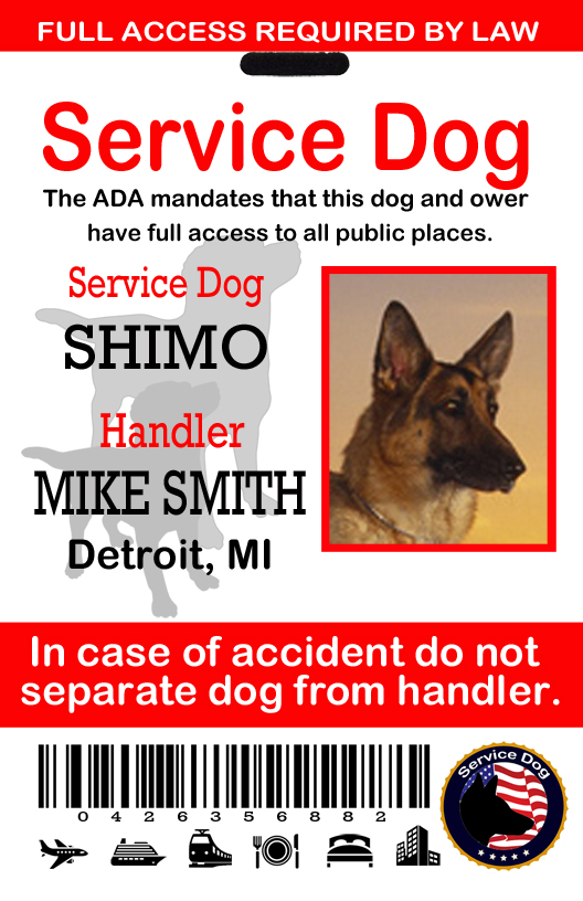 service dog id template