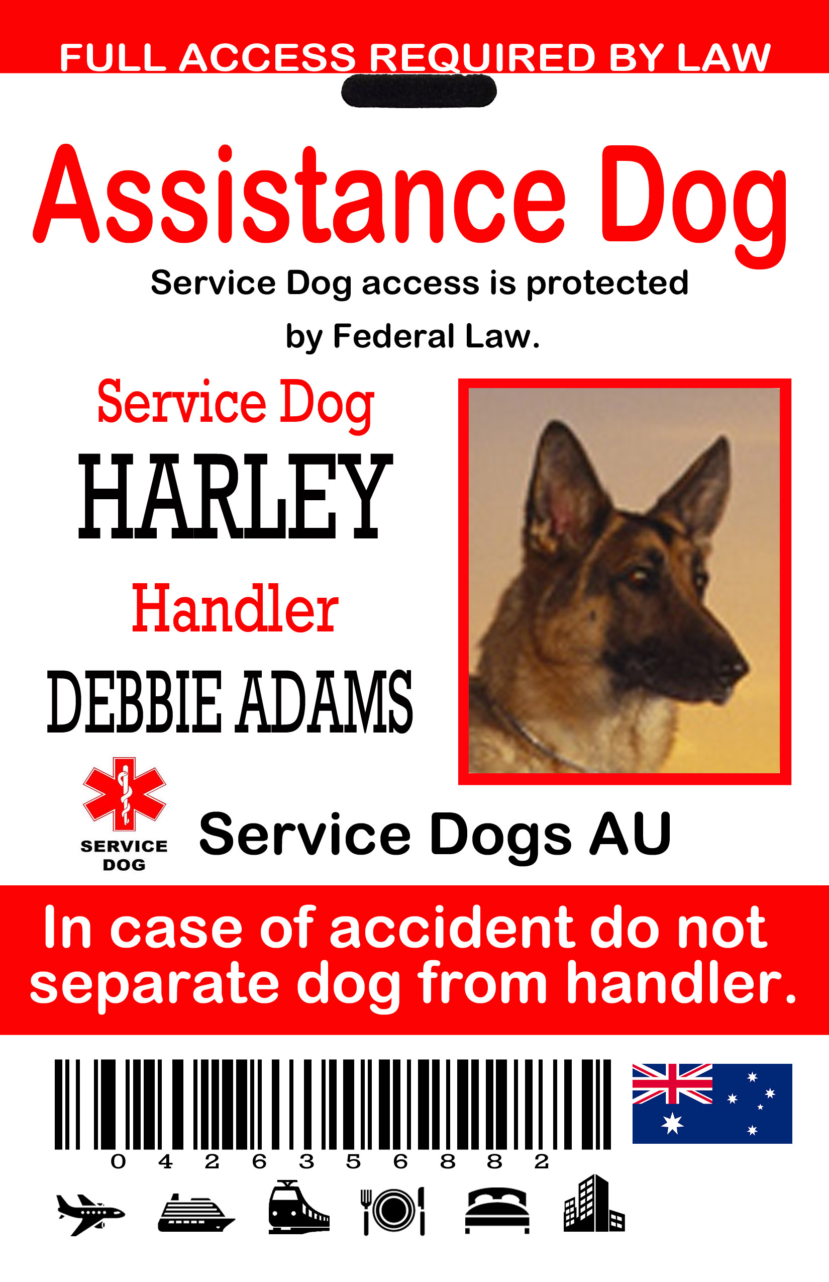 Australian id tags the sewing network assistance dog id tag au 1betcityfo Image collections