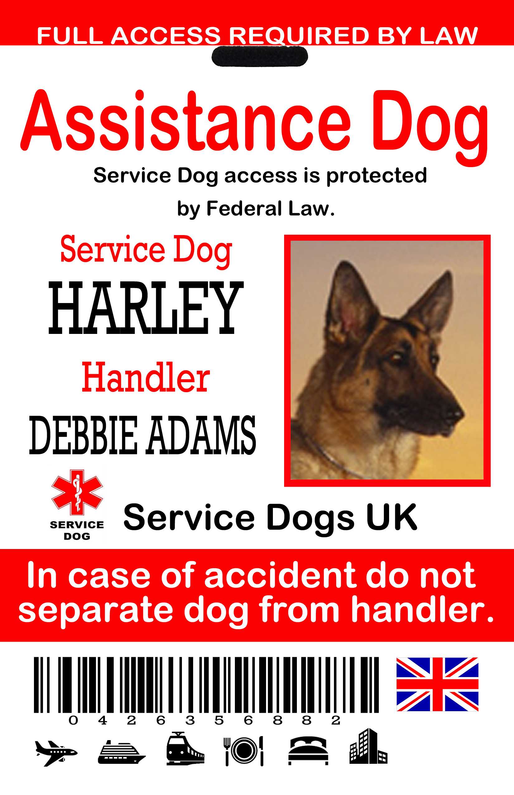 UK Service Dog ID Tags : The Sewing Network