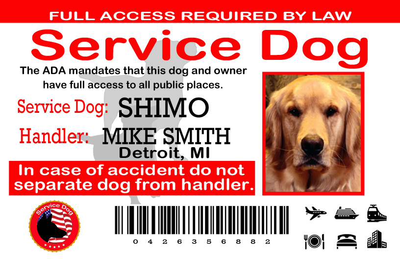 Service Dog ID Card USA - $18.99 : The Sewing Network