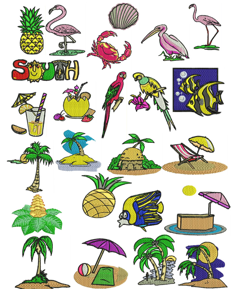 Tropical island machine embroidery designs many formats